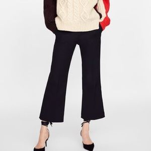 Zara cropped flare knit pants